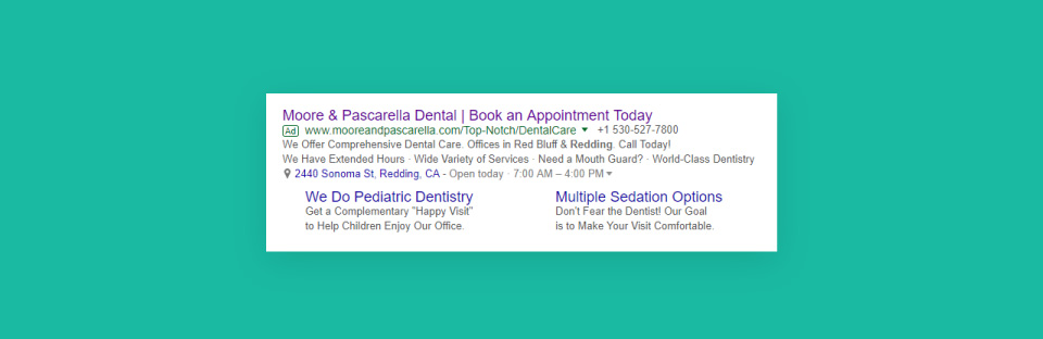 example of a paid search ad for dental marketing