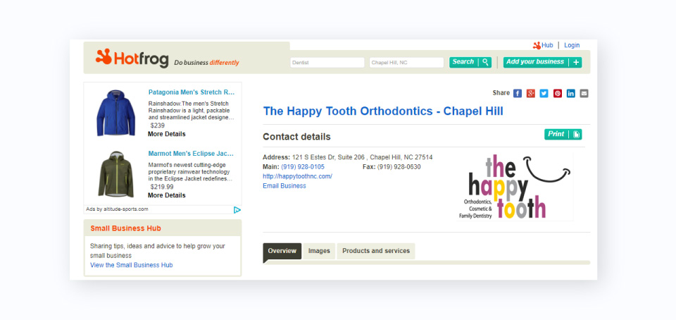an example of a citation for a dental practice on the directory HotFrog. Citations play a role in your dental SEO visibility