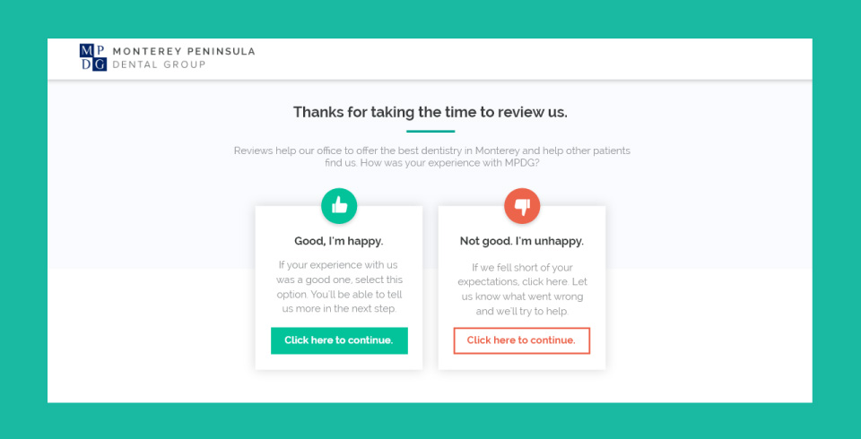a review portal for collecting reviews on a dental website