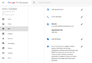 Where to set an appointment link on your Google My Business profile