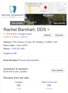 screenshot of a google my business listing with reviews
