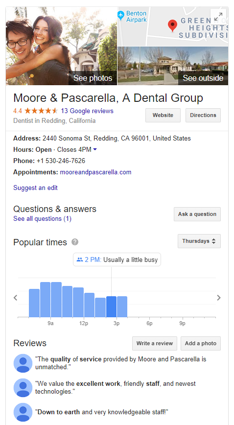 A Google My Business Profile for a Dentist in Redding, CA