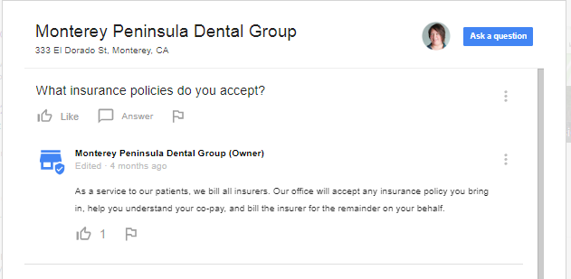 Google answer example from Monterey Peninsula Dental Group