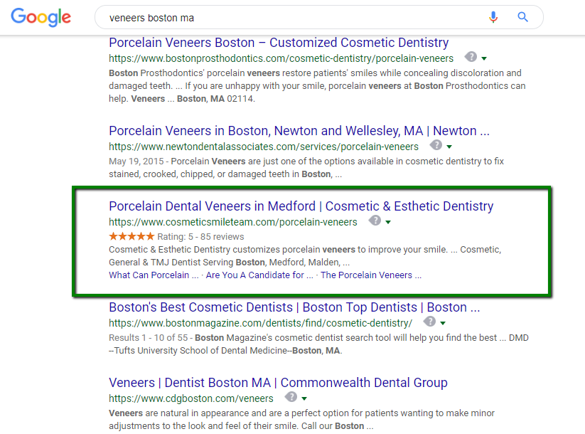 An example of a business with a star rating review snippet appearing in Google results.